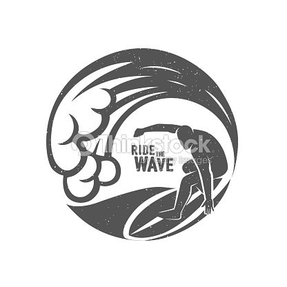 1e57b0c41f0c9 Símbolos De Surf Montar La Ola Jinete De Surf arte vectorial ...