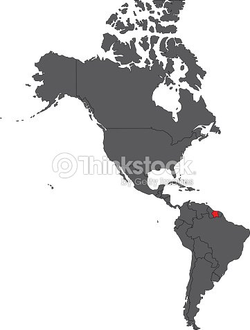 Suriname red map on gray America map vector : stock vector