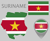 Colorful flag, map pointer and map of the Surname in the colors of the Surinamese flag. High detail. Vector illustration