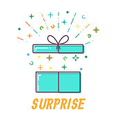 Surprise Flat open Gift box vector.