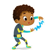 Surprised African-American Boy wearing colorful costume of superhero playing with lightning, isolated on white background. Cartoon vector characters of Kid Superheroes, party, invitations,mascot