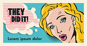 surprised blond woman face pop art style vector banner template