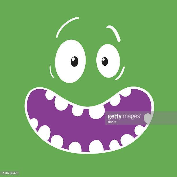 Surprised Cartoon Green Face