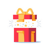 Surprising gift, opened present box, unusual experience, special celebration, birthday party, vector flat illustration