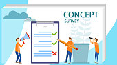 Survey concept banner with characters. Survey vector illustration. Flat mini persons concept with quality test and satisfaction report. Can use for web banner, infographics, hero images.