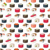 Sushi and rolls seamless pattern. Cartoon meal salmon restaurant vector design. Healthy seaweed texture menu gourmet traditional japan food background.