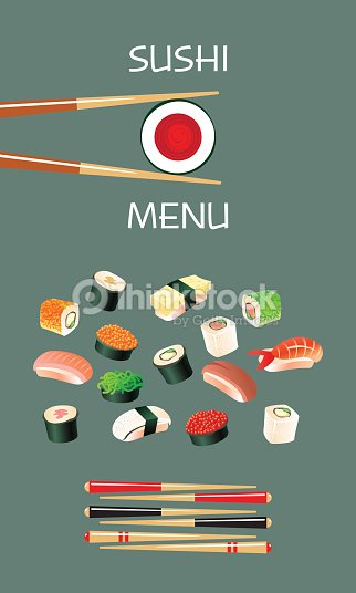 Sushi menu template japanese cuisine vector art thinkstock sushi menu template japanese cuisine vector art pronofoot35fo Choice Image
