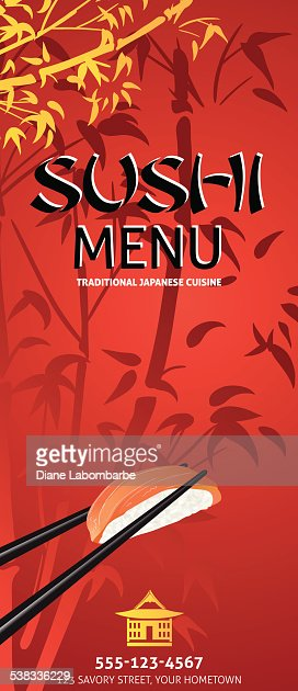 Sushi restaurant menu template or background with bamboo vector similar images pronofoot35fo Choice Image