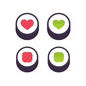 Sushi roll with heart shape, salmon and cucumber or avocado. Fish and vegetarian rolls icon or logo. Vector illustration set.