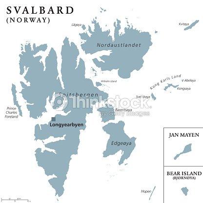 Nordpolarmeer Karte.Svalbard Jan Mayen Und Die Politische Karte Der Bäreninsel
