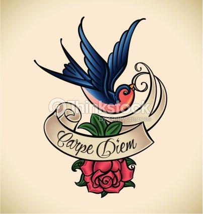Hirondelle et rose oldschool tatouage clipart vectoriel thinkstock - Tatouage hirondelle old school ...
