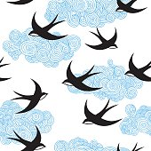 Seamless pattern with swallows.