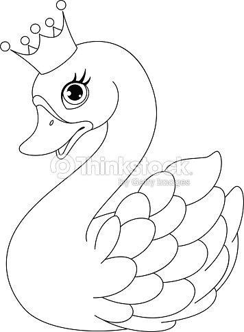 Swan Princess Coloring Page Vector Art   Thinkstock
