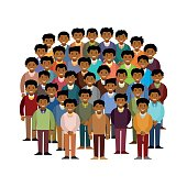 Swarthy men community vector concept in flat style
