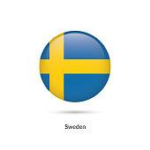 Sweden flag - round glossy button. Vector Illustration.