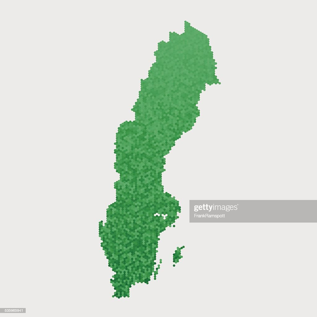 Sweden Map Green Hexagon Pattern : Vector Art