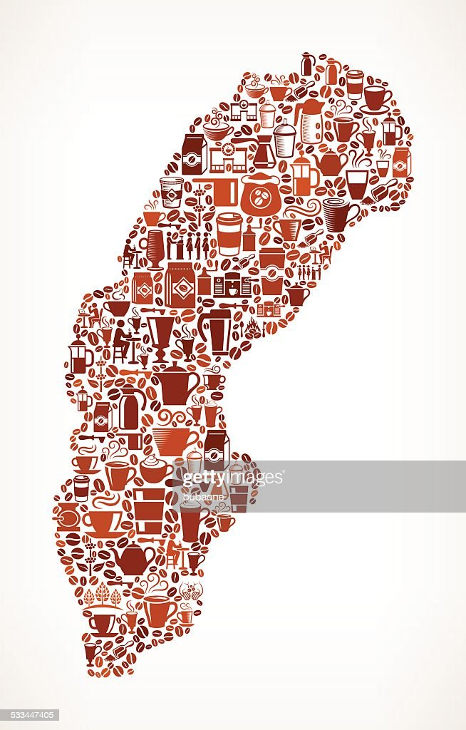 Sweden Map Royalty Free Vector Coffee Background Graphic Vector - Sweden map free