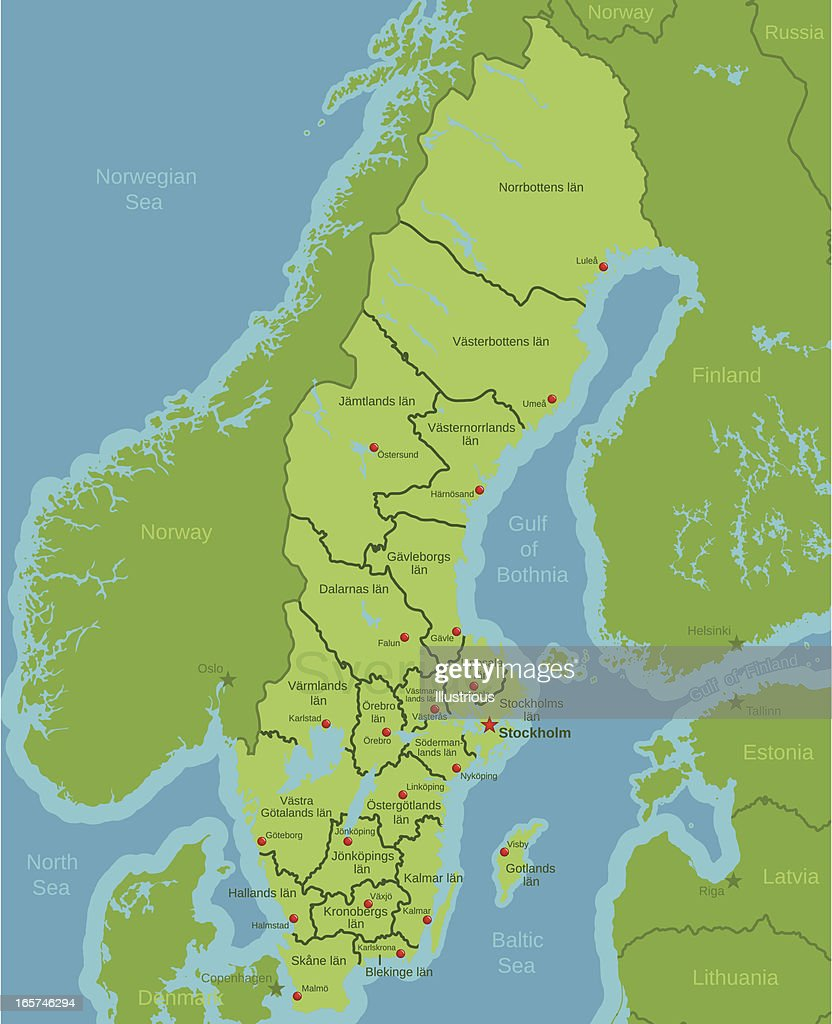 Sweden Map Showing Counties Vector Art Getty Images - Sweden map counties