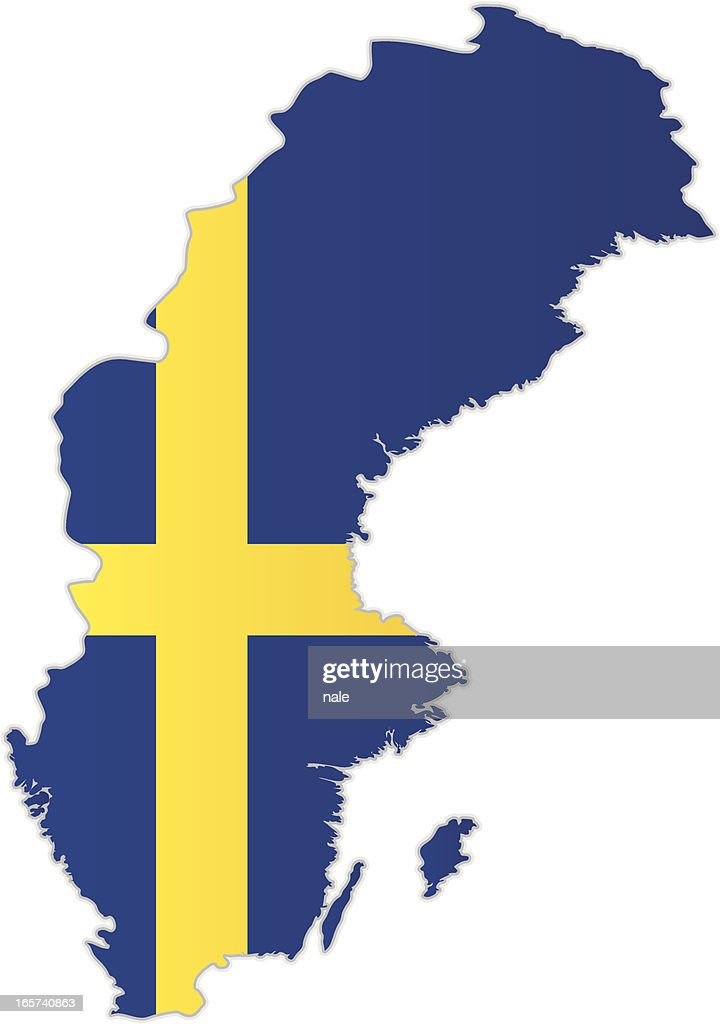 Sweden Map With Flag Vector Art Getty Images - Sweden map flag