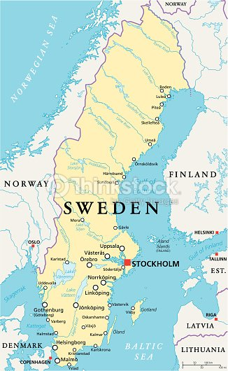 Sweden Political Map Vector Art Thinkstock - Sweden map jönköping