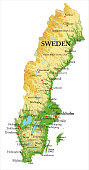 Highly detailed physical map of Sweden,in vector format,with all the relief forms,regions and big cities.