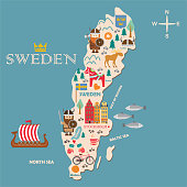 Hand drawn illustration of Sweden symbols map with tourist attractions. Travel  concept. Vector illustration