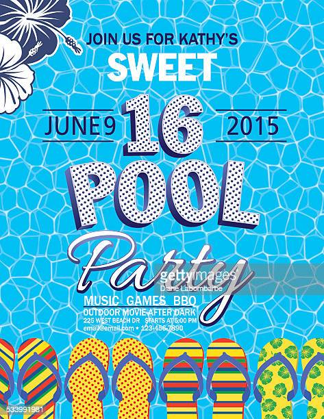 Sweet 16 Pool Party Invitation With Water Palm Trees