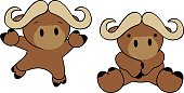 sweet baby oxen cartoon set in vector format very easy to edit