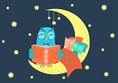 Sweet charming owl reading book to owlets at night on the moon under starry sky. Father and children concept. Bedtime, story time vector illustration.