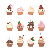 Sweet cupcakes set with