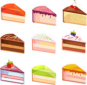 Sweet delicious cake slices pieces vector icons. Dessert of piece, snack with chocolate cream illustration