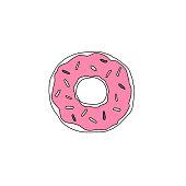 Sweet dessert. Vector donut illustration with glaze.