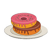 Sweet donuts on dish icon vector illustration graphic design