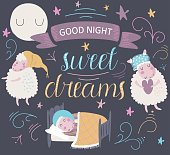 'Good night. Sweet dreams' poster with cute sleeping sheep in cartoon style.