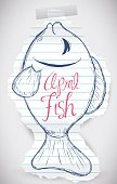 Tear rip paper with a sweet fish draw for April Fools' prank.