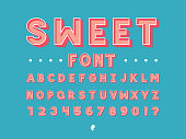 Sweet font. Vector alphabet letters and numbers. Typeface design.