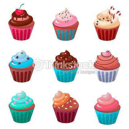 Sweet food chocolate creamy cupcake set isolated vector illustration : clipart vectoriel