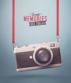 Hanging retro camera, sweet memories. Illustration contains transparency and blending effects, eps 10