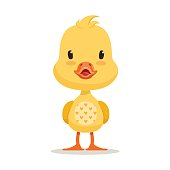 Sweet yellow duckling, emoji cartoon character vector Illustration isolated on a white background