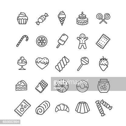 Sweets and Bakery Icon Black Thin Line Set. Vector : stock vector