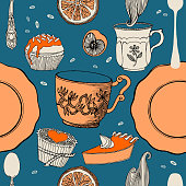 Sweets and tea in bright colours. Vector illustration.