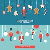 Vector banners/illustrations set of Christmas and winter holidays decorations with toys and sweets in simple modern design.