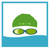 swimmer wearing cap and goggles