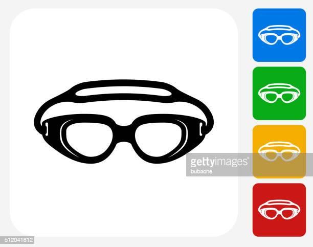 Swimming Goggles Icon Flat Graphic Design