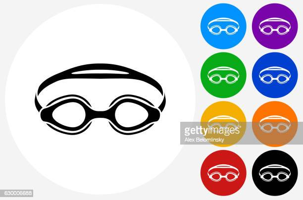 Swimming Goggles Icon on Flat Color Circle Buttons