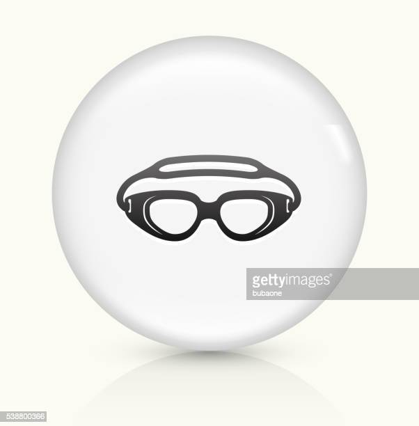 Swimming Goggles icon on white round vector button