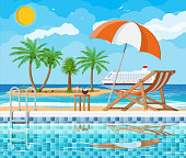 Swimming pool and ladder. Umbrella, wooden lounger. Table with coconut and cocktail. Island, palm tree, cruise ship. Sky, clouds, sun. Vacation and holiday concept. Vector illustration in flat style