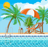 Swimming pool and ladder. Umbrella, wooden lounger. Table with coconut and cocktail. Palm tree. Sky, clouds, sun. Vacation and holiday concept. Vector illustration in flat style