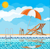 Swimming pool and ladder. Umbrella, wooden lounger. Table with coconut and cocktail. Sky, clouds, sun. Vacation and holiday concept. Vector illustration in flat style