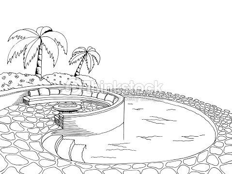 Swimming Pool Graphic Art Black White Illustration Vector